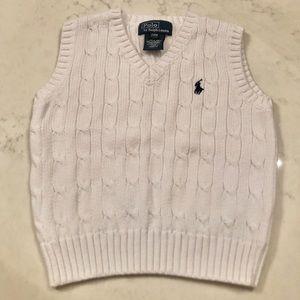 Polo by Ralph Lauren White Cable Knit Vest
